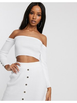 Fashionkilla knitted long sleeve bandeau crop top with buttons two-piece in white