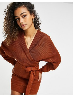Fashionkilla knitted off shoulder tie detail mini dress in chocolate-brown