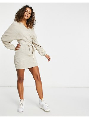 Fashionkilla knitted off shoulder tie detail mini dress in oatmeal-cream