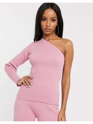 Fashionkilla knitted one shoulder sweater two-piece in blush pink