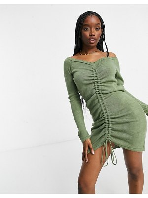 Fashionkilla knitted ruched detail off-the-shoulder dress in khaki-beige