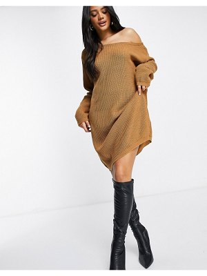 Fashionkilla knitted slouchy off-the-shoulder sweater dress in brown