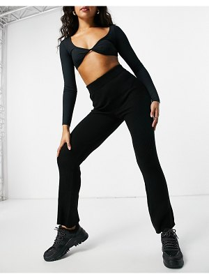 Fashionkilla knitted wide leg pant in black