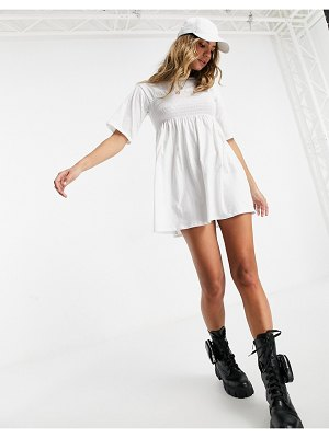 Fashionkilla oversized t-shirt dress with sheering detail in white