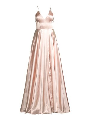 Faviana charmeuse lace-up gown