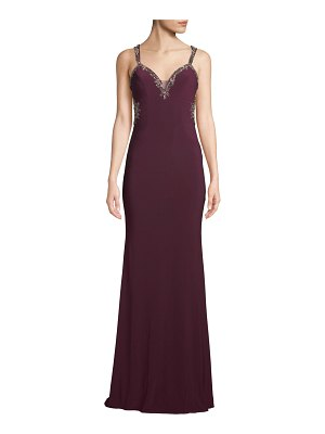 Faviana Embellished Open-Back Jersey Gown