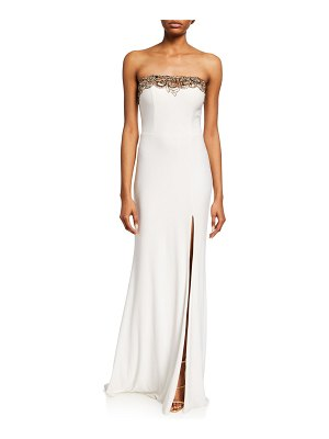 Faviana Strapless Bustier Gown with Beaded Lace Trim