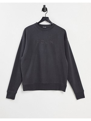 FCUK oversived dropped shoulder sweater in washed black