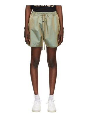 Fear of God green iridescent track shorts