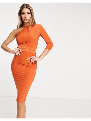 Femme Luxe asymmetric one long shoulder midi dress in rust-orange