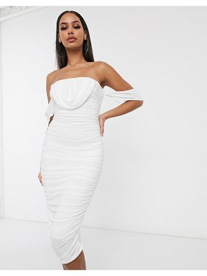 Femme Luxe drape ruched midi dress in white