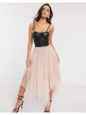 Femme Luxe exclusive corset top layered tulle midi dress in multi