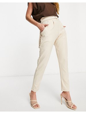Femme Luxe high waist leather-look pants in stone croc-beige