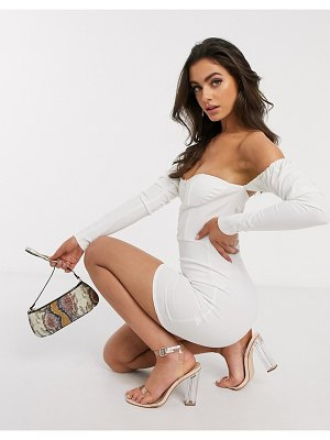 Femme Luxe off shoulder long puff sleeve mini dress in white