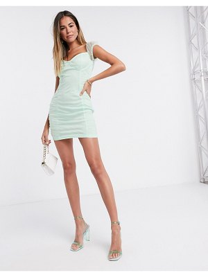 Femme Luxe organza ruched mini dress in mint-green
