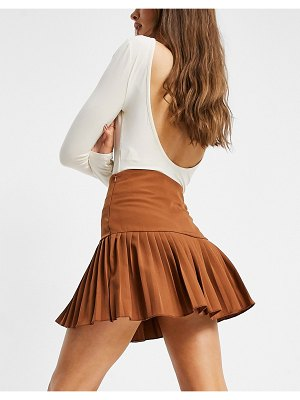 Femme Luxe pleated skater skirt in brown