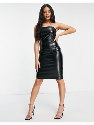 Femme Luxe pu body-conscious dress with thin straps in black