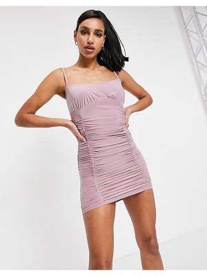 Femme Luxe ruched detail cami strap midi dress in mauve-purple