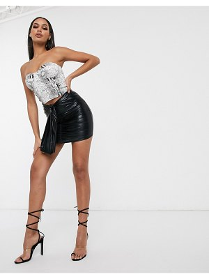 Femme Luxe ruched mini skirt with drape detail in black