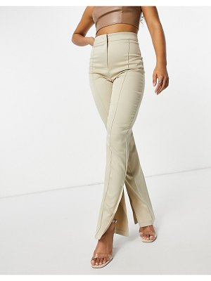 Femme Luxe satin pants with split side in cream