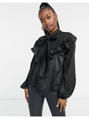 Femme Luxe satin ruffle tie neck shirt in black