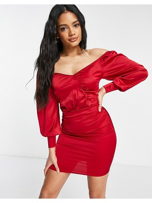 Femme Luxe satin wrap detail mini dress with volume sleeves in red