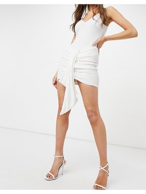 Femme Luxe sequin mini skirt with knot detail in white