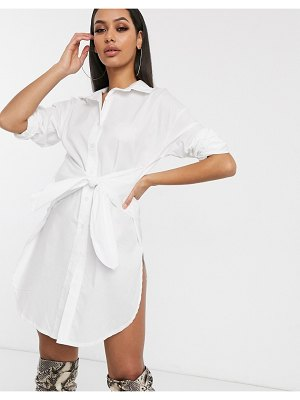 Femme Luxe shirt dress with high side splits in white