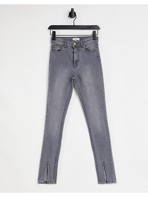 Femme Luxe slit front jean in washed gray-grey