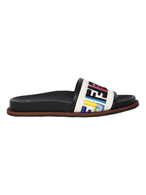 Fendi 20mm embroidered canvas slide sandals