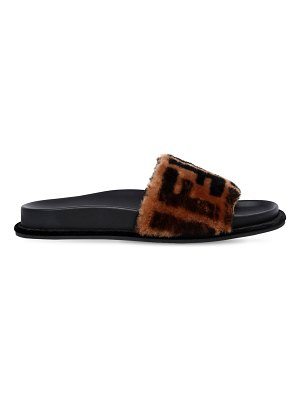 Fendi 20mm logo shearling slide sandals
