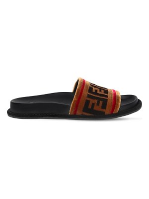Fendi 20mm logo velvet slide sandals