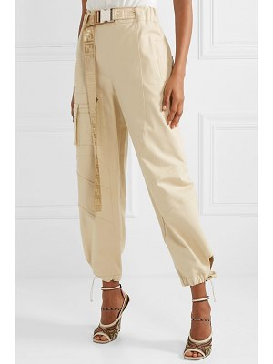 Fendi belted cotton-blend drill tapered pants