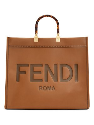 Fendi brown leather sunshine shopper tote