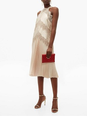 Fendi chantilly lace halterneck charmeuse dress