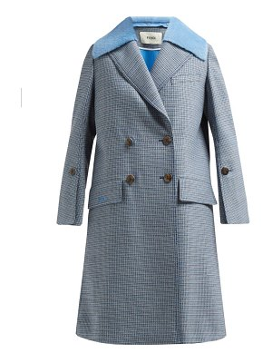 Fendi checked double breasted wool blend coat