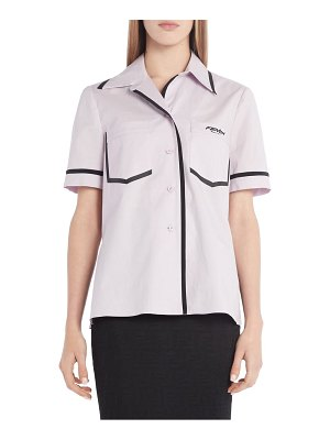 Fendi contrast trim cotton poplin shirt