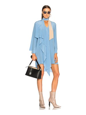 Fendi Crepe de Chine Long Sleeve Mini Dress