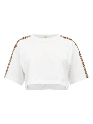 Fendi cropped logo print cotton t shirt
