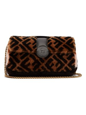 Fendi Double Baguette Logo Shearling Bag
