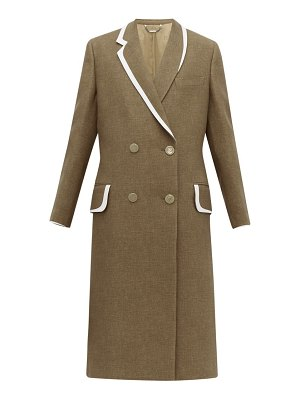 Fendi double breasted bow back wool & silk blend coat