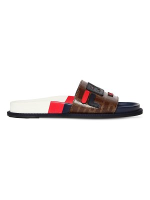 Fendi Fendi mania leather slides