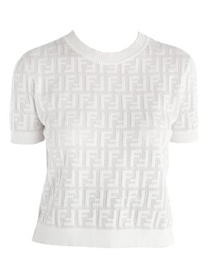 Fendi ff jacquard logo short sleeve knit