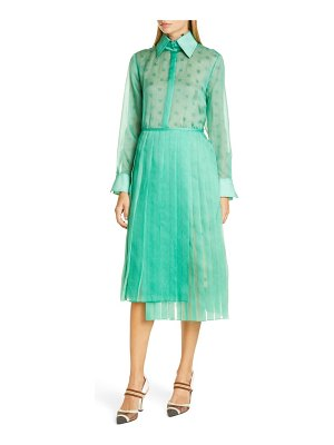 Fendi ff karligraphy silk organza long sleeve midi shirtdress