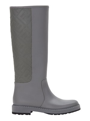 Fendi FF Leather Tall Riding Boots