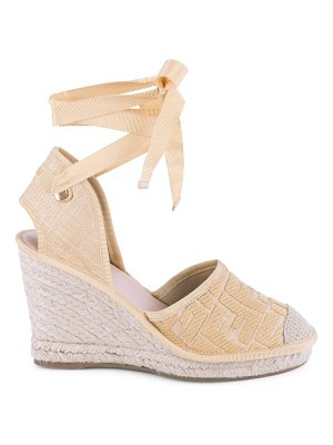 Fendi ff logo ankle-wrap espadrille wedge sandals