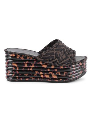 Fendi ff logo platform wedge sandals