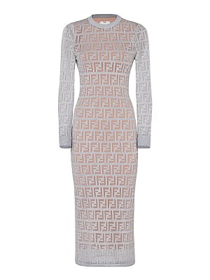 Fendi ff metallic logo knit midi dress