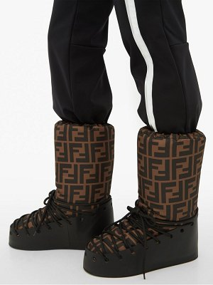 Fendi ff print lace up moon boots