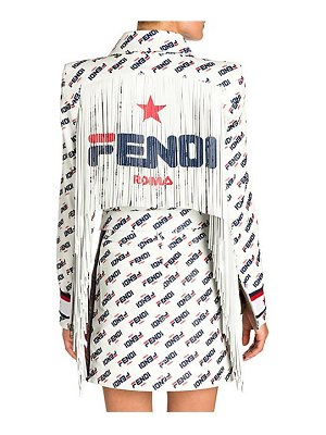 Fendi fringed mania fila logo leather jacket